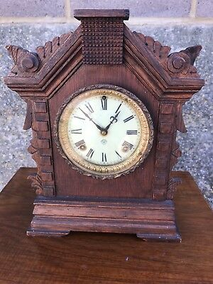 Old Fancy Wooden Cased Ansonia Usa Mantel Clock