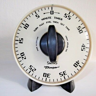 Vintage Smiths Kitchen Timer Alarm Clock; Black & White Bakelite-Smiths Pinger!