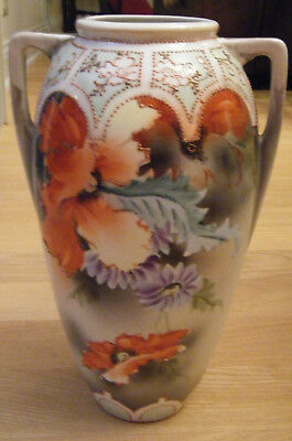 Antique Royal Nishiki Nippon Vase Porcelain Hand Painted Moriage Poppy Flowers