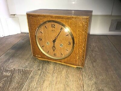 smiths 8day wooden retro mantle clock working