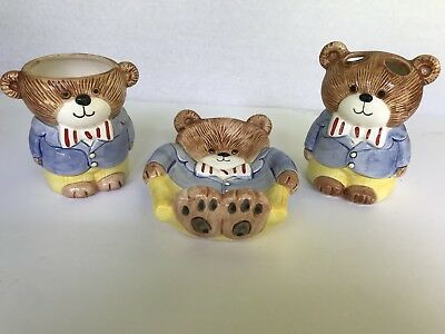 Vintage Ceramic 3 piece set Teddy Bear Bath Soap Dish Tumbler Toothpaste holder
