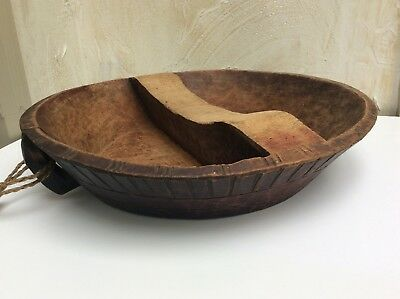 Rare & Unusual Antique  Primitive Hand Carved Chopping Bowl Trace Old Red Paint