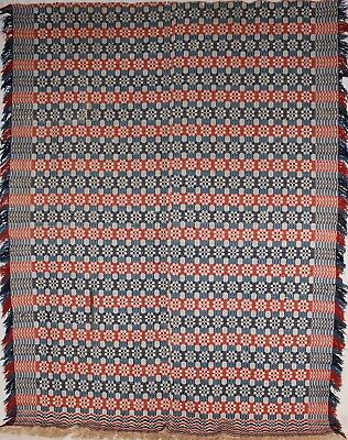 Antique Red, White, & Blue Dog Paw Coverlet