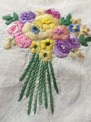 """Hand Embroidered Vintage Tablecloth Flowers Colourful White VGC 33"""" Beautiful"""