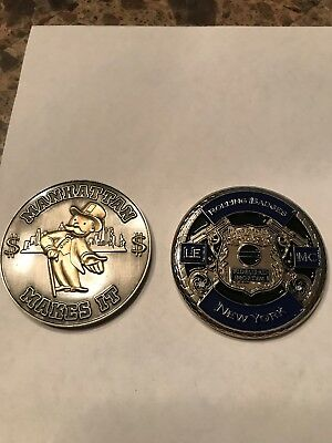 Lot Of Two NY Police Challenge Coins Not NYPD Tilly And Mr. Monopoly MC