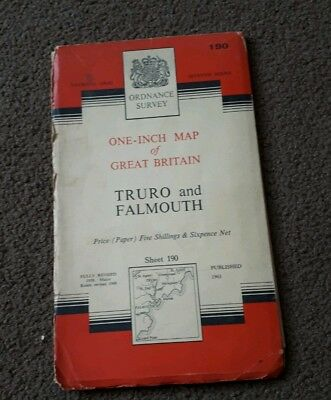 Vintage National Grid Ordnance Survey One Inch Map TRURO AND FALMOUTH 1961 paper