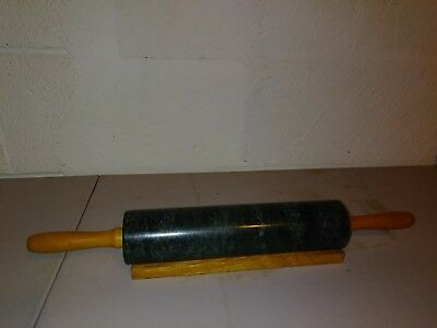 Solid Granite Rolling Pin with holder Green VINTAGE