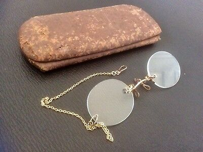 Antique Pince Nez Spectacles No Frame Glasses,Gold Tone Chain,Victorian Case