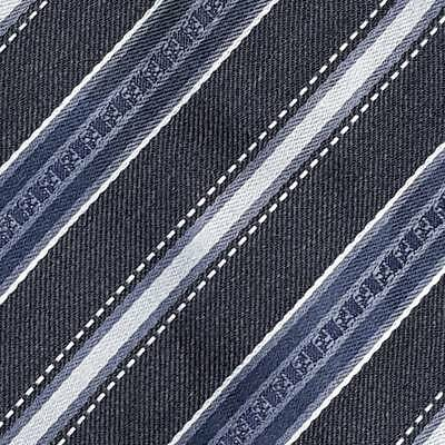 FENDI TIE All Over FF Striped in Dark Blue Classic Woven Wool Silk Necktie