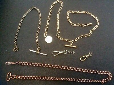 Job Lot Antique Vintage Pocket Watch Albert Chain,t Bar,fob,swivelclasp,art Deco
