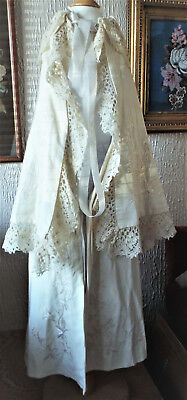 Antique/embroidered Wool/lace Baby Christening Cape