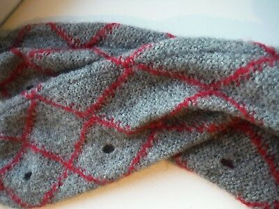 United colours of benetton mohair blend leg or arm warmers in grey & red check
