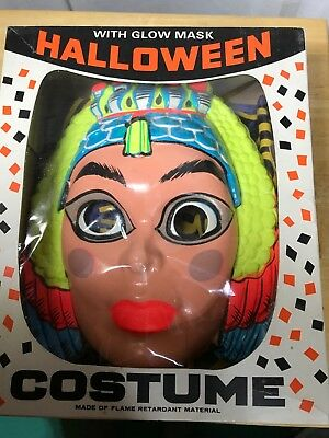 Vintage Halloween Costume In The Box. Cleopatra. Glow Mask Size 8 To 10 Child