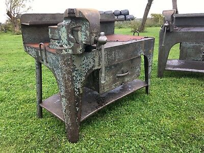 Pair of Very Heavy duty Steel (Metal) Antique Engineers Work Benches with Vice