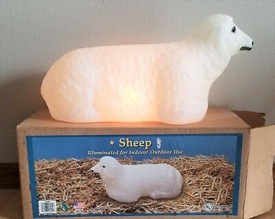 "General Foam Lighted Blow Mold Plastic 18"" Christmas Nativity Sheep/Lamb W/Box"