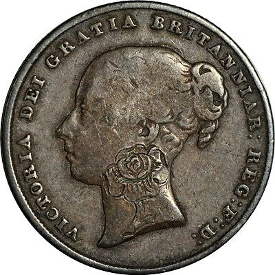 1840 Great Britain shilling VF with a rose engraving on Victoria's neck X1264