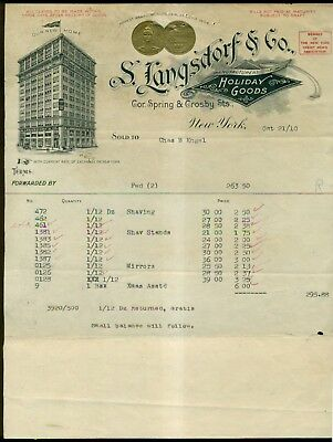 """1910 S. Langsdorf & Co. """"Holiday Goods"""" 1904 World's Fair Gold Medal Invoice"""