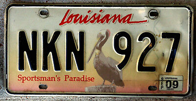 "Louisiana Brown Pelican License Plate ""Sportsman's Paradise"" with a 2009 Sticker"
