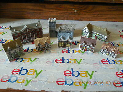 Wade Whimsey on Way LOT of 8 Houses / Shops / English Village Porcelain England