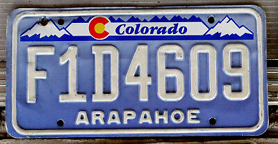"""Blue and White Colorado License Plate with the Red and Yellow """"C"""" Arapaho"""