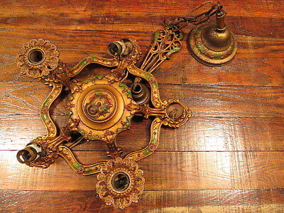 Antique Victorian Art Deco Cast Iron 5 Socket Ceiling Light Fixture Vintage