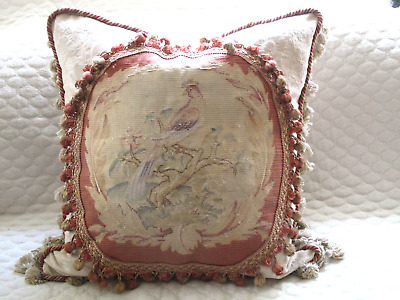 Charming Authentic 19Th C Antique Aubusson Tapestry Pillow Of Bird
