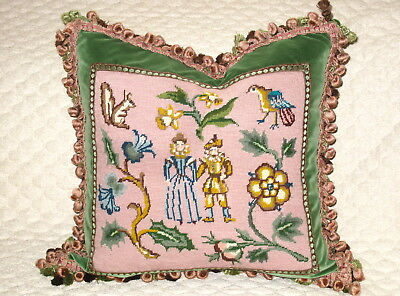 Charming Jacobean Antique Needlepoint Sampler Tapestry  Pillow