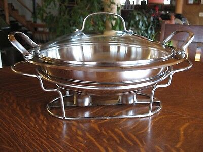"""Cuisinart 11"""" Round 3.2 Qt Buffet Server Stainless Steel Food Warmer Tray"""