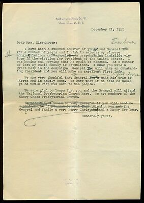 1952 Personal Congratulations Letter Draft to First Lady Mrs. Eisenhower