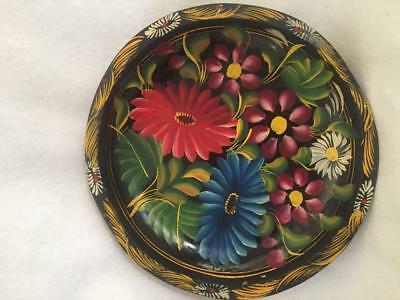 Vintage Mexican Batea Hand Painted Wooden Bowl—10-1/2 Inch