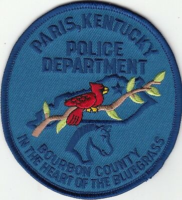 "Paris Kentucky Police Department Patch Ky ""in The Heart Of The Bluegrass"""