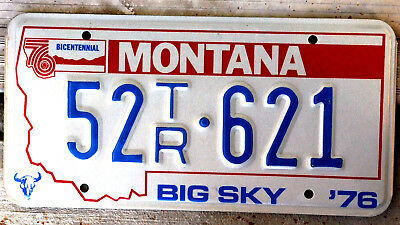 1976 Montana Bicentennial Trailer License Plate #52 in Great Shape!