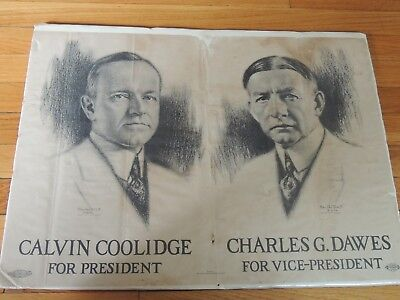 """1924 Coolidge Dawes Jugate Campaign Poster by Doctoroff shrinkwrapped! 17x24"""""""