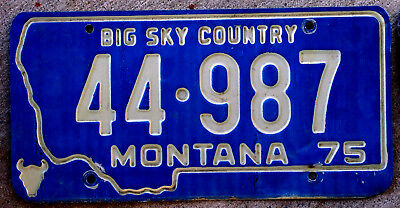 1975 White Incused Lettering on a Blue Montana License Plate #44