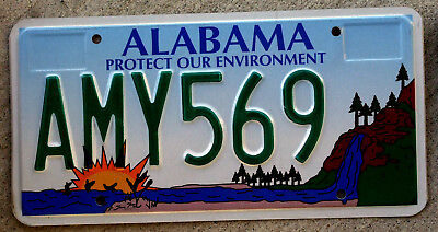 Alabama Protect Our Enviromnent License Plate with Waterfall into Gulf of Mexico