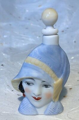 ANTIQUE*GERMAN FIGURAL FLAPPER LADY GERMANY*PERFUME/SCENT BOTTLE HALF DOLL Re~