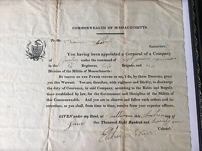 Militia Of Massachusetts Corporal Appointment Dated 1821 - FREE SHIPPING!