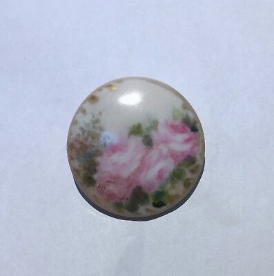 """Beautiful Antique Porcelain /china Hand Painted  Button~Roses~Large 1 1/4"""""""