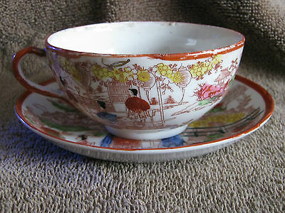 Antique Japanese Kutani Figural Chintz Geisha Girl Hand Painted Tea Cup & Saucer