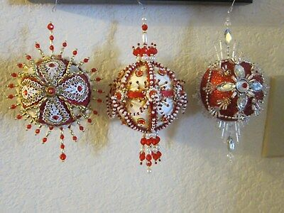 Handcrafted VintageChristmas TreeOrnaments Glitter RibbonsSequins Beads