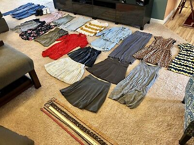 Lot Of Women's Clothing Shoes Small Sizes 27 Items: Shirts, Skirts, Dress, Jeans