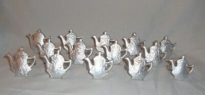 Lot of  14 Silver TEAPOT Napkin Rings Tea Party Bridal Baby Shower Wedding