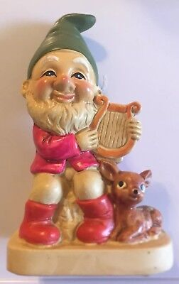 "Adorable Vintage Gnome Homco #5201 Harp With A Deer 7"" By 3 3/4"" Figurine"