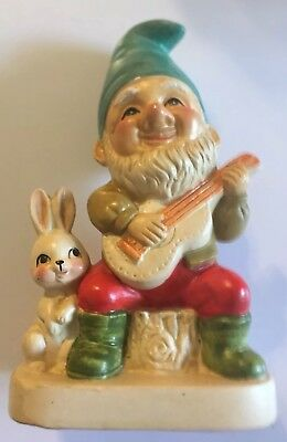 "Adorable Vintage Homco #5201 Gnome Fiddle With Bunny Rabbit 6 1/2"" By 4"""