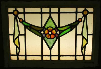 """MID SIZE OLD ENGLISH LEADED STAINED GLASS WINDOW Nice Floral Sweep 27.5"""" x 19.5"""""""