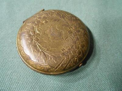 Antique Compact Victorian Compact Jules Richard New York N.y. Ornate Brass Case