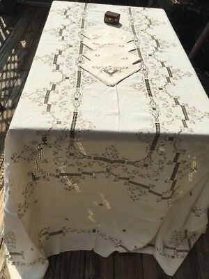 Vintage Lefkara Cut Work Hand Embroidery Tablecloth Linen 66 X 115 In Ivory Lace