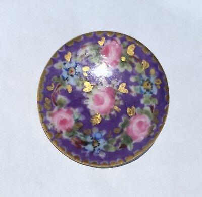 LaRgE* ANTIQUE PORCELAIN /CHINA HAND PAINTED BUTTON~ROSES~FMN'S~LUSH GILT~SwEEt*