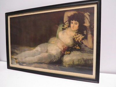 Vintage Print of Antique 1800's Painting Women Lady Portrait Laying Couch Art