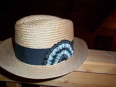 Vintage Wormser Fedora Hat Mens Straw Panama Size 6 7/8 Wide Band Detailed W/tag